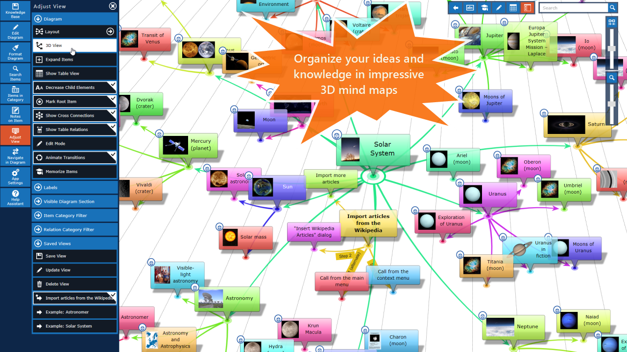 Create amazing 3D Mind Maps and Flowcharts with our software